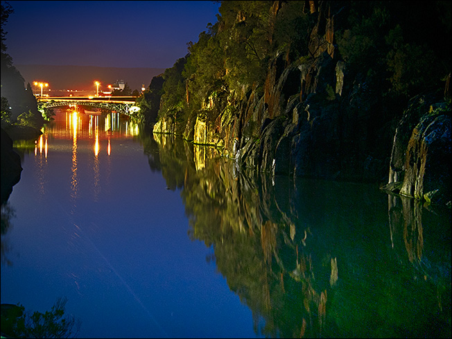 Cataract Gorge by night in the blue hour